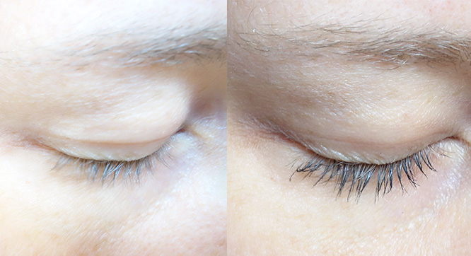 Inika Long Lash mascara - before and after