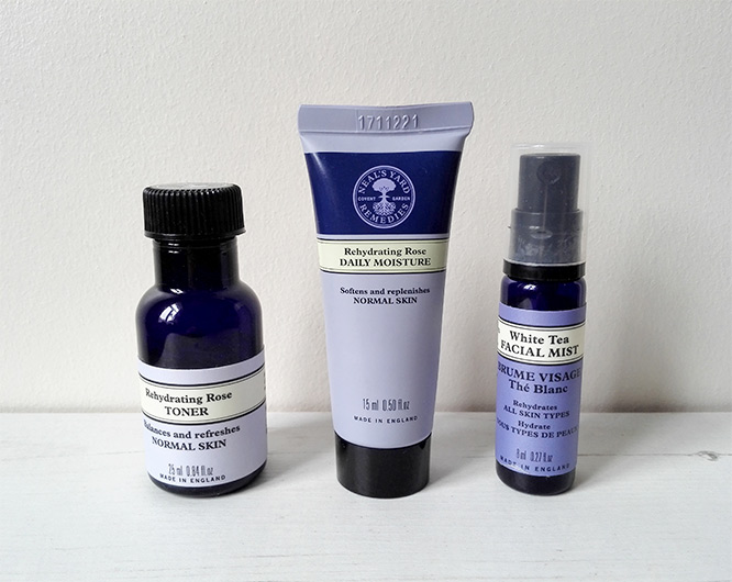 neal's yard remedies minis: Rehydrating Rose Daily Moisture, Rehydrating Rose Toner & White Tea Facial Mist